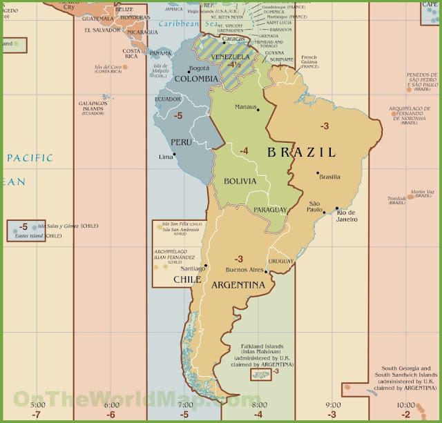 Diferença do fuso horário entre San Pedro de Atacama e o Brasil a partir de 2016