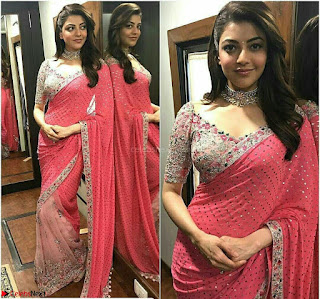 Kajal Agarwal in Red Saree Sleeveless Blouse Stunning Pics  Exclusive Galleries 012.jpg