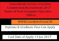 Subordinate Service Selection Commission Recruitment 2017 For Computer Operator Officer