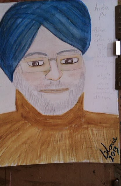 """India's Prime Minister"" ethnic sketch by Gloria Poole; Nov 2013; watercolors"