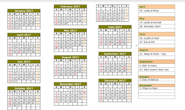 Get Printable Calendar : 2017 Islamic Calendar