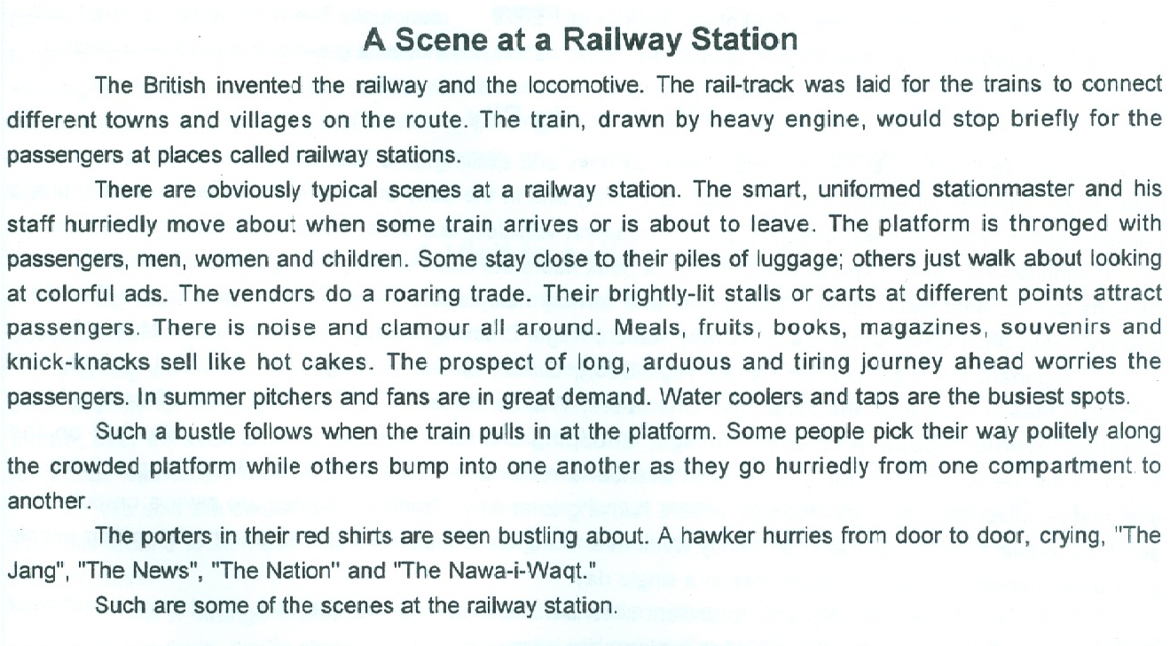 10th Class English Essay On A Scene At The Railway Station