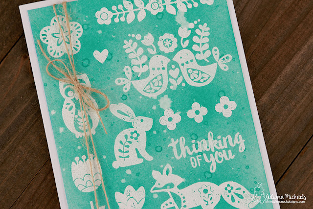 Stamped Scandinavian Pattern Card Design featuring Newton's Nook Cottage Garden Stamp Set, MISTI and Distress Ink by Juliana Michaels