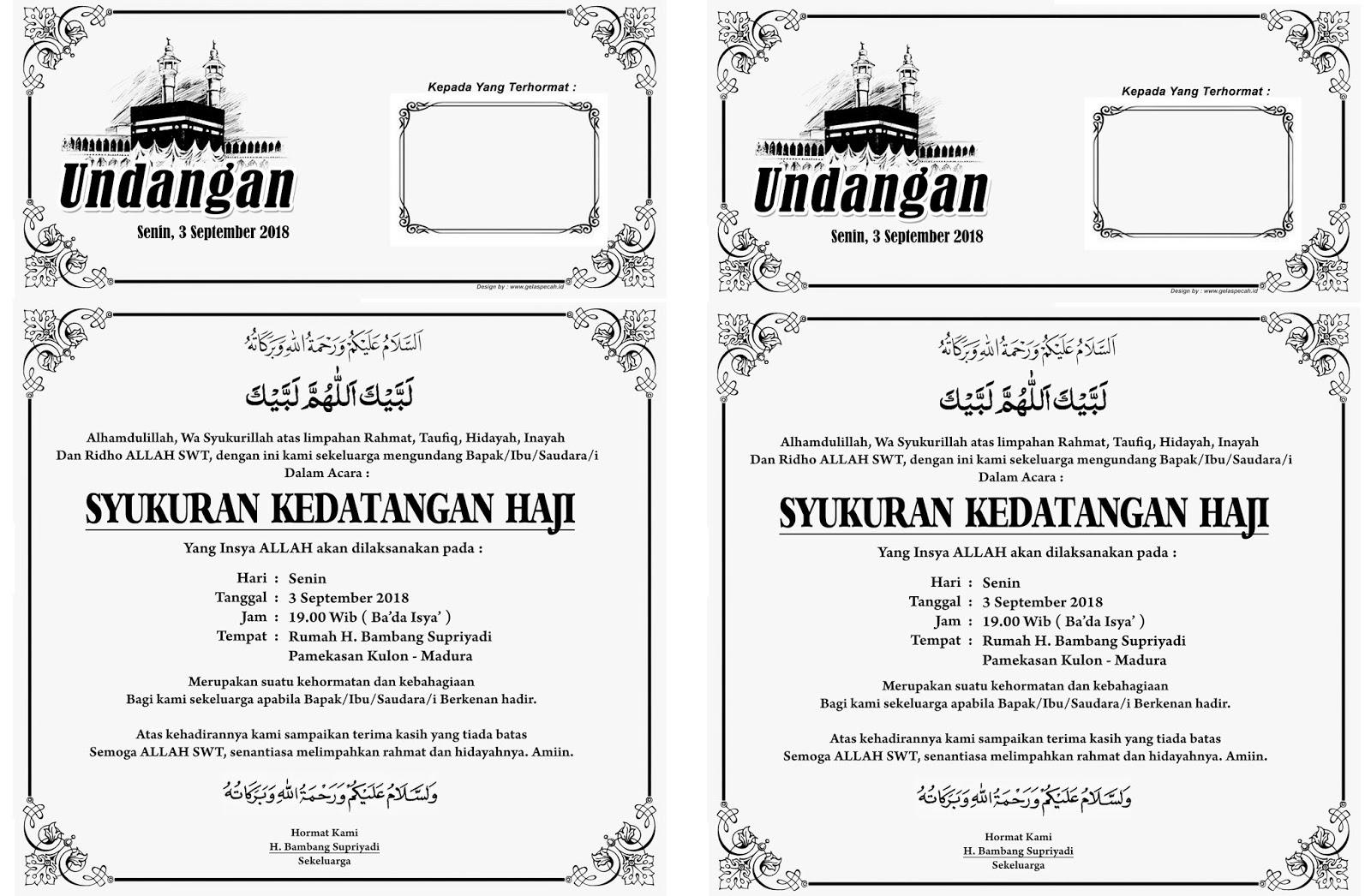 Contoh Undangan Kedatangan Haji Bisa Doc Psd Cdr Png Jpg