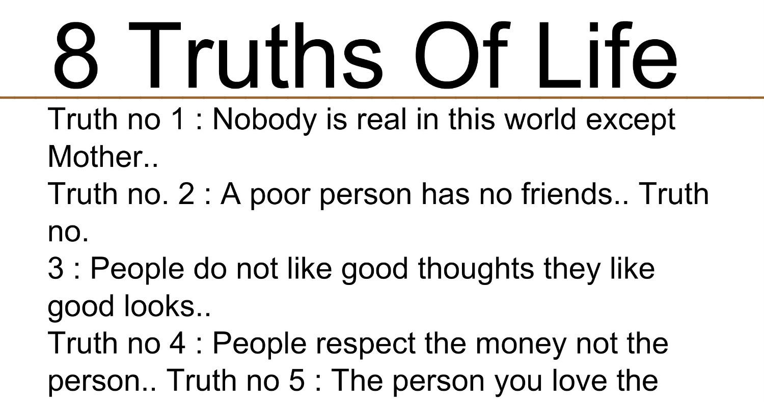 Poor Life Quotes Beautiful Quotes 8 Truths Of Life