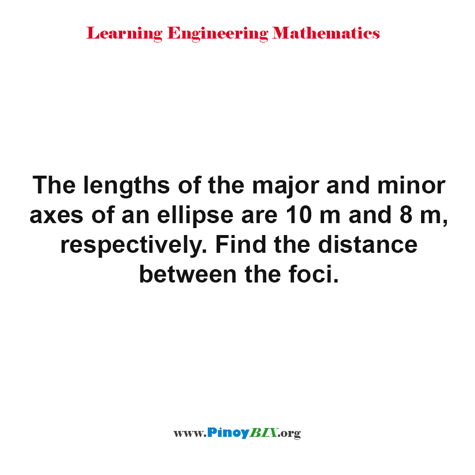 Find the distance between the foci of an ellipse given the major and minor axes