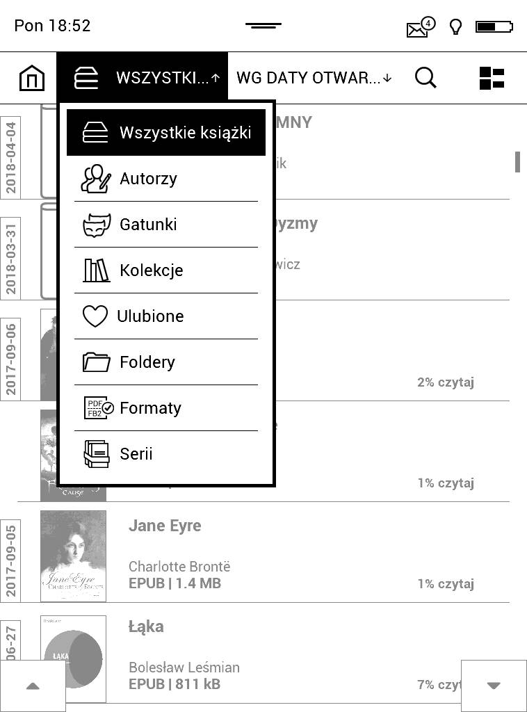 PocketBook Aqua 2 – zrzut ekranu menu rozwijanego z opcjami grupowania e-booków