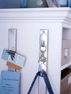 Home office organizing tips, tricks and hacks. Use the side of your desk for more storage room and places to tack notes. Install a magnetic knife wall mount to the side of your desk or a shelving unit and attach magnetic hooks. Use it to hang your keys, purse, or even binder clips with notes.