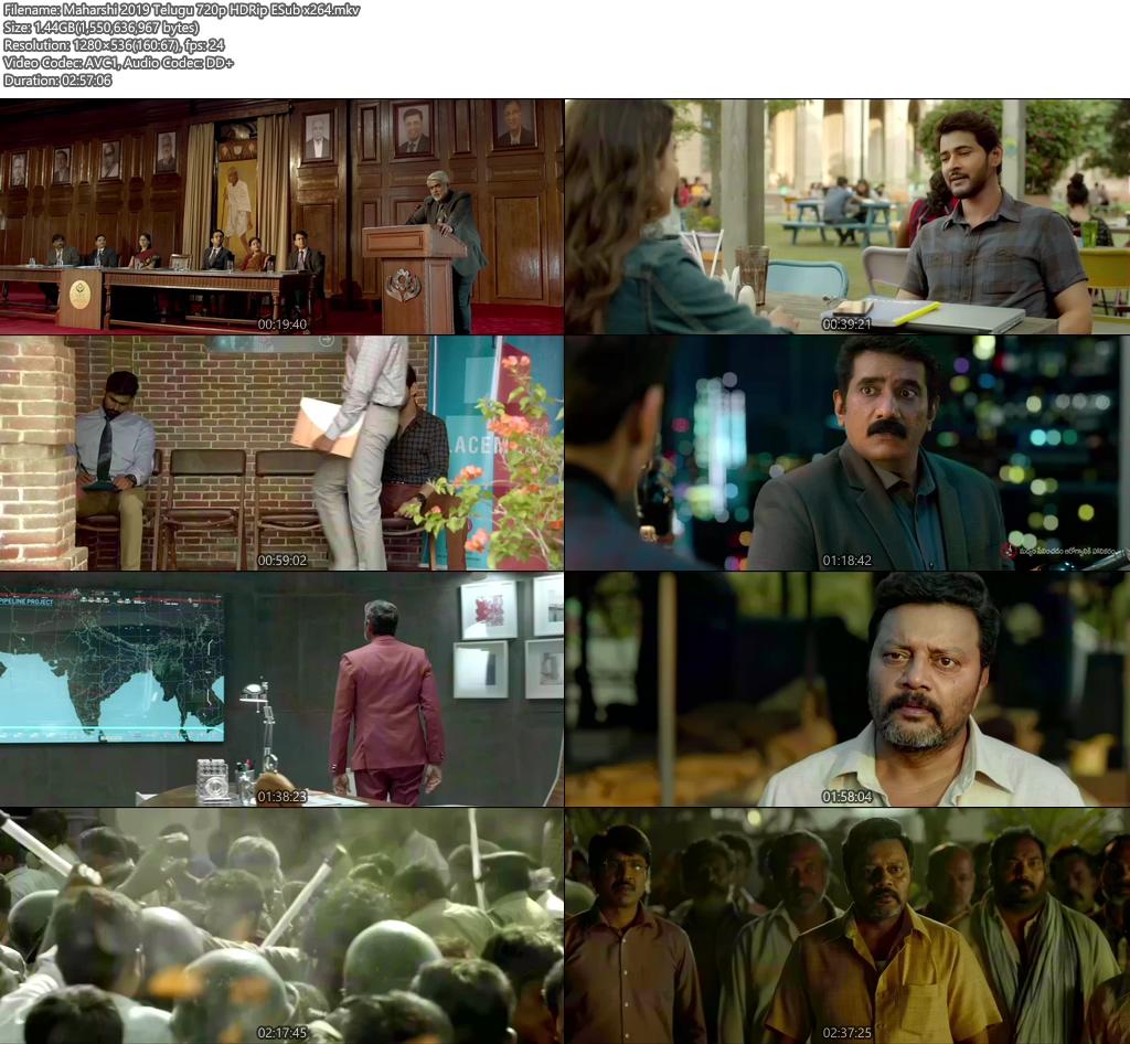 Maharshi 2019 Telugu 720p HDRip ESub x264   480p 300MB   100MB HEVC Screenshot