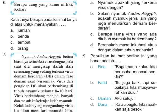 Soal UKK Bahasa Indonesia SD Kelas 5 Semester 1