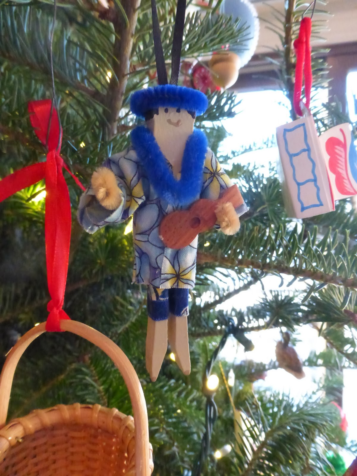 Cousin ornaments - A Homemade Hawaiian Ukulele Boy Made From A Clothes Pin From A Cousin In Hawaii Mele Kalikimaka