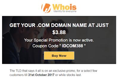 Promo Domain .Com Murah Cuma $3 di Whois