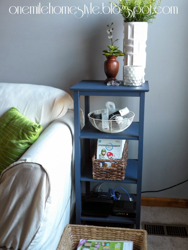 Navy Blue side table with shelves