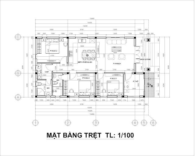 mặt bằng tầng trệt nhà cấp 4 kích thước 8x15 mét