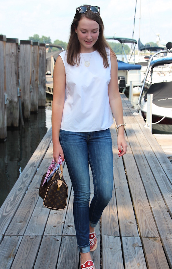 Gimme Glamour: crisp white top + patriotic touches