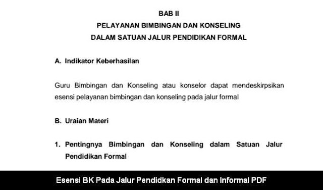 Esensi BK Pada Jalur Pendidkan Formal dan Informal PDF