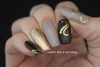 water decal gold nail art