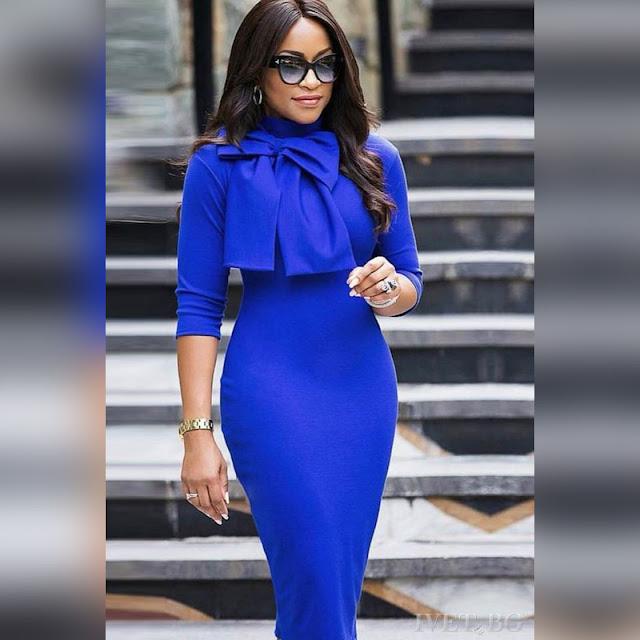 Μεσάτο  μίντι μπλε φόρεμα PANDORA BLUE