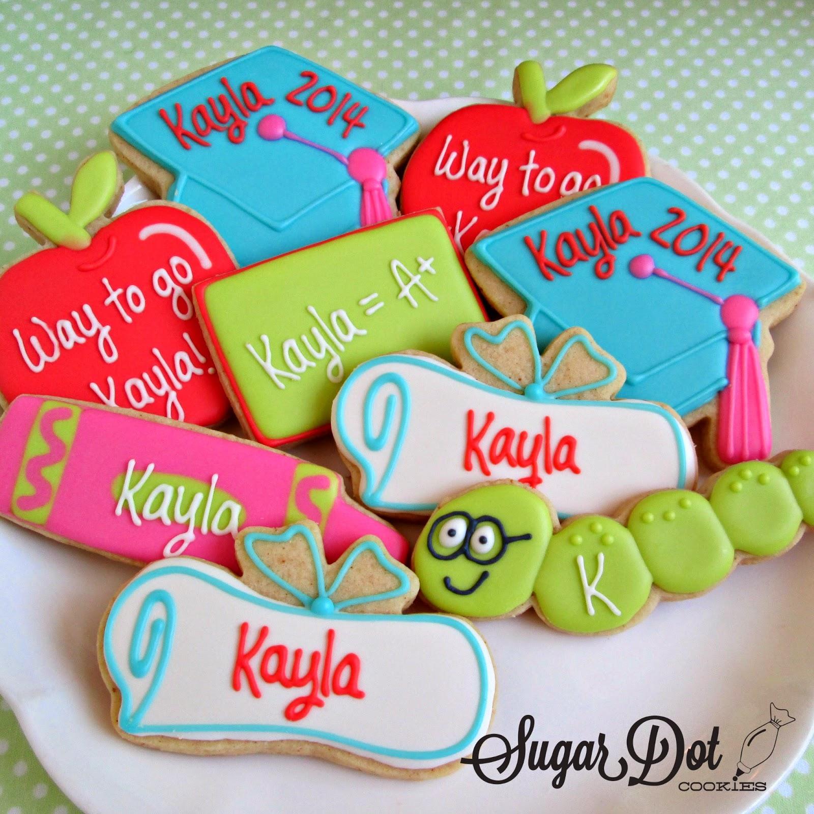 sugar dot cookies graduation cookies