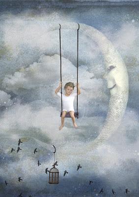 Niño y luna de la imaginación
