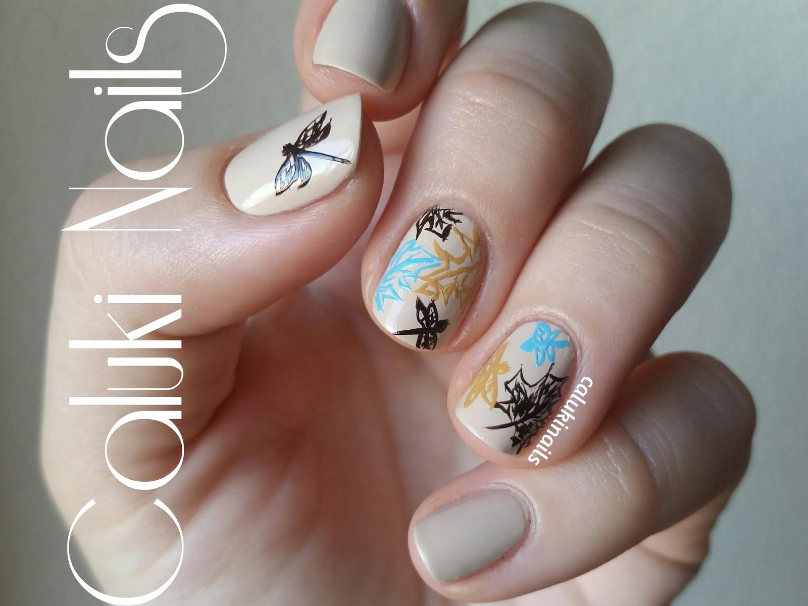 Caluki Nails Nail Art Hojas Y Libélulas De Otoño