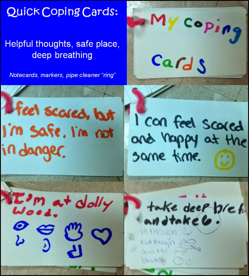 Elementary student example ofquick coping cards to help a student with anxiety