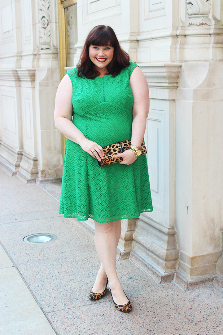 Plus Size Blogger Amber from Style Plus Curves in Maggy London London Times Curve Plus Size Dress, green lace, sample sale
