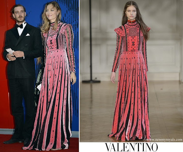 Beatrice Borromeo wore Valentino embellished pleated silk dress