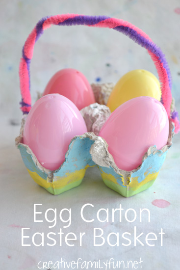 Turn an egg carton into a simple Easter basket with only a few supplies with this kids Easter craft.
