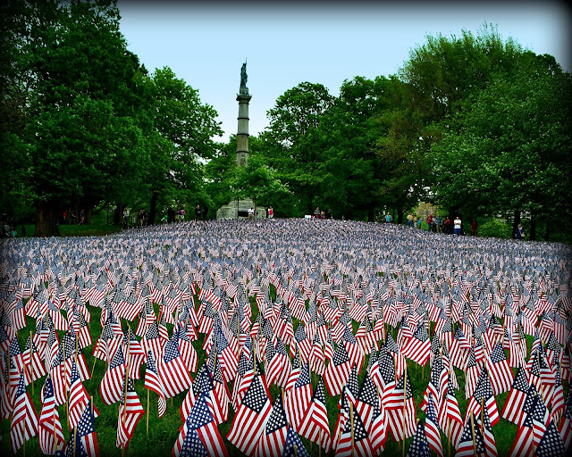 flags, memorial day, boston common, massachusetts