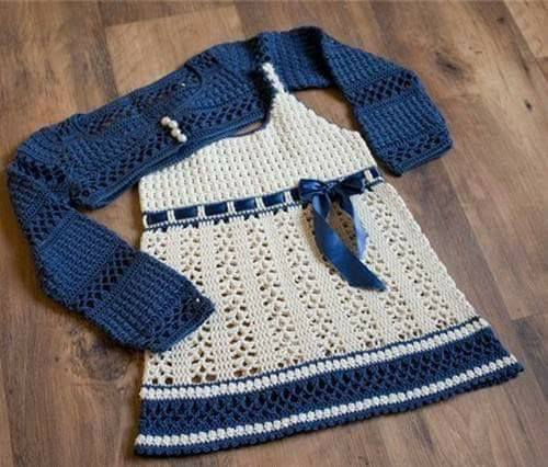 Patrón #1864: Como hacer vestido de bebé a crochet