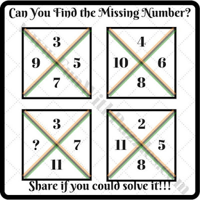 Easy Maths Brain Teasers to find missing number which will replace question mark