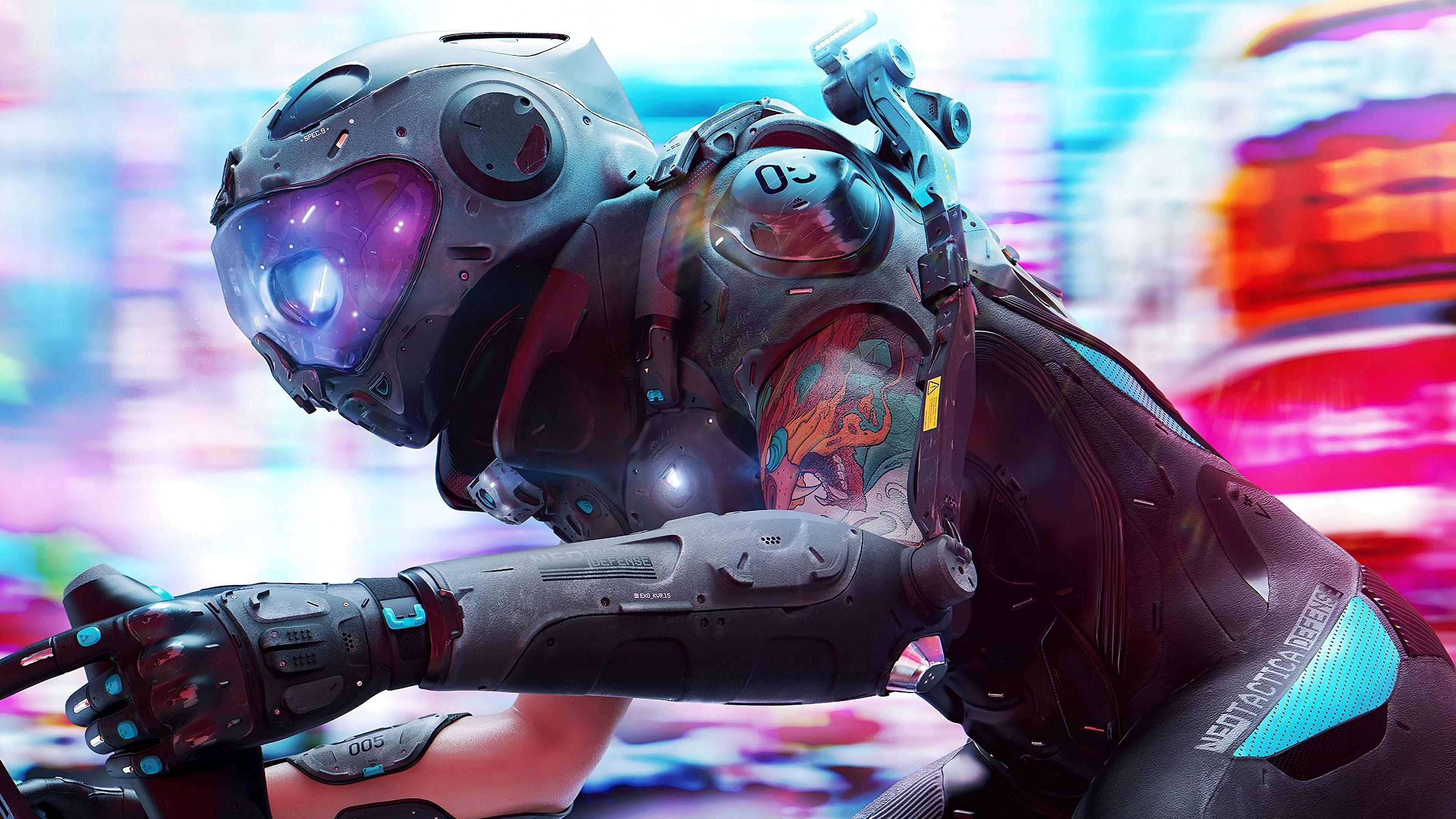Cyberpunk, Tattoo, Biker, Sci-Fi, Digital Art, 4K, #121 ...