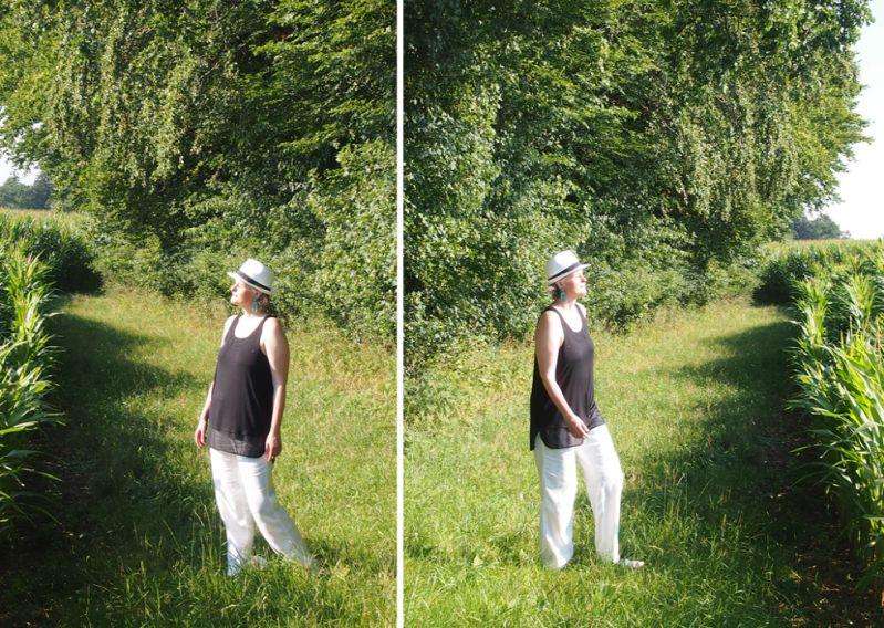 türkise Statement-Ohrringe zum luftigen Schwarz-Weiß-Hochsommer-Outfit