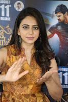 Rakul Preet Singh smiling Beautyin Brown Deep neck Sleeveless Gown at her interview 2.8.17 ~  Exclusive Celebrities Galleries 064.JPG