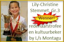 Veels geluk aan Lily-Christine Stemmet, Gr.3, WENNER van die redenaarstrofee en kultuurbeker by L/s Montagu!