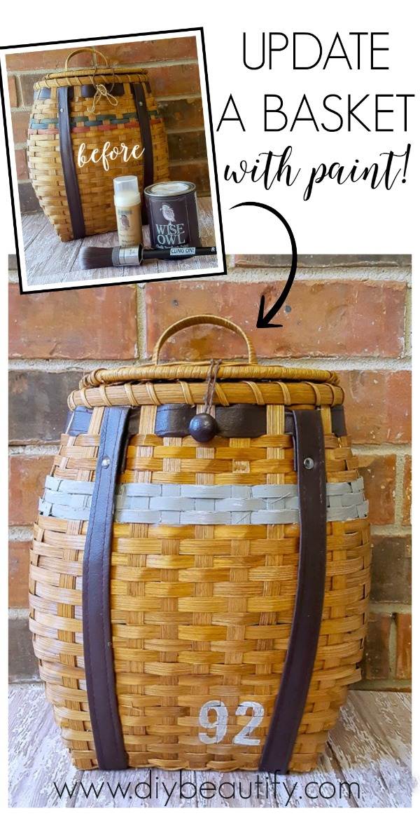 The country colors on this basket were updated with paint!