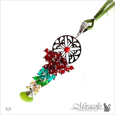 Miracolo, chalcedony ang quartz pendant, oponki kwarcu, chalcedon kropla, cytryn, wisiorek