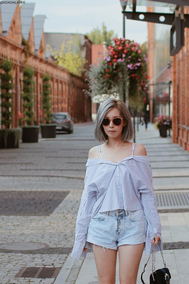 Japanese Fashion Blogger,MizuhoK,20180905OOTD, SheIn=striped shit, ZARA= denim shorts, Sammydress=velvet crossbody, CHOIES=black toe mules, 3COINS=earrings, zeroUV=Sunglasses, NIXON=watch, Somnium=ring