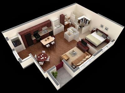 en este pequeo podemos ver como el acceso principal es directo por la sala comedor frente a ellos se encuentra el dormitorio que tiene acceso