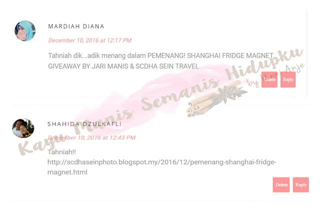 MENANG SHANGHAI FRIDGE MAGNET GIVEAWAY BY JARI MANIS & SCDHA SEIN TRAVEL