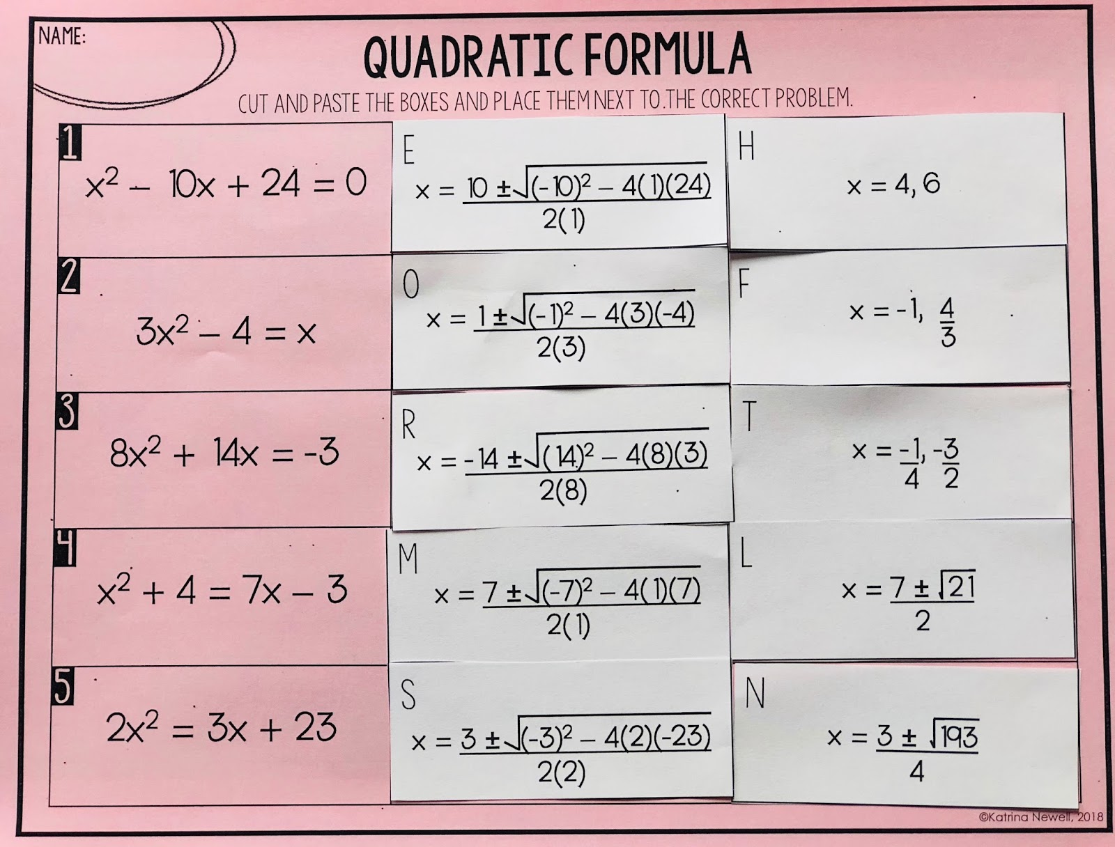 Quadratic Formula Activity Mrs Newells Math