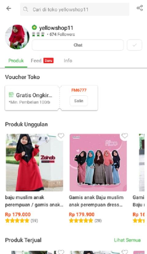 yellowshop11 Sebagai Toko Baju Muslim Anak Terlaris di Tokopedia