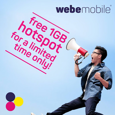 webe mobile free 1GB hotspot data tethering