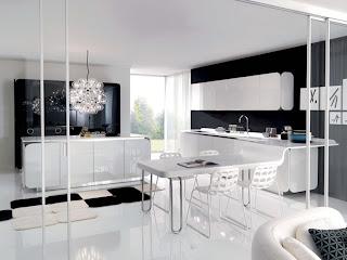 cocina blanco con negro