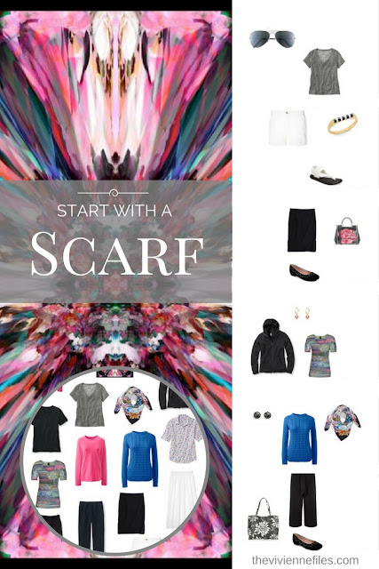 The Power of Accessories in a Travel Capsule Wardrobe; Start with a Scarf - Flower Burst by Kathkath
