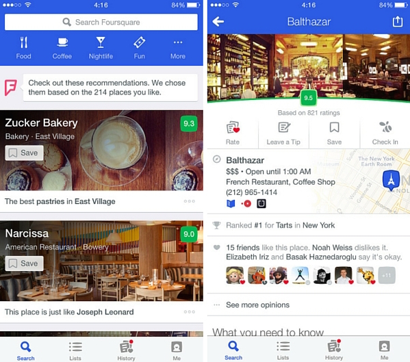 foursquare travel app