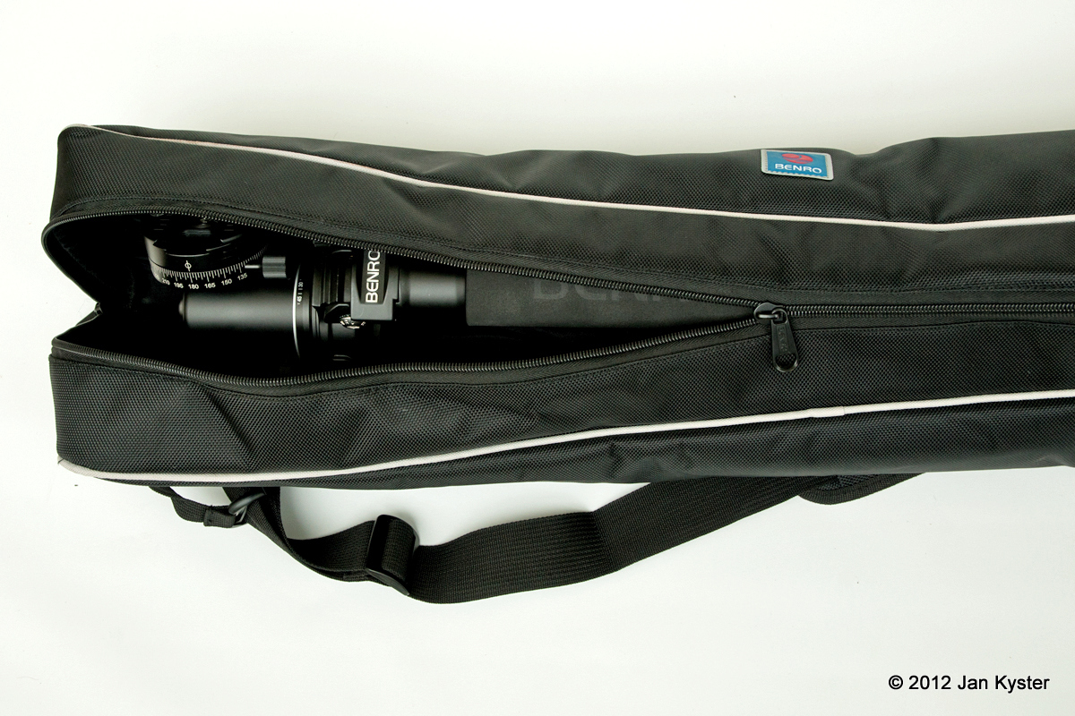 Benro C3770T CF Tripod + B-3 + PC-1 folded inside carrying bag