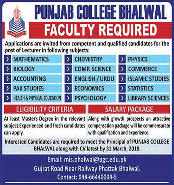 Punjab College Bhalwal Jobs for Lecturers Jobs 2018