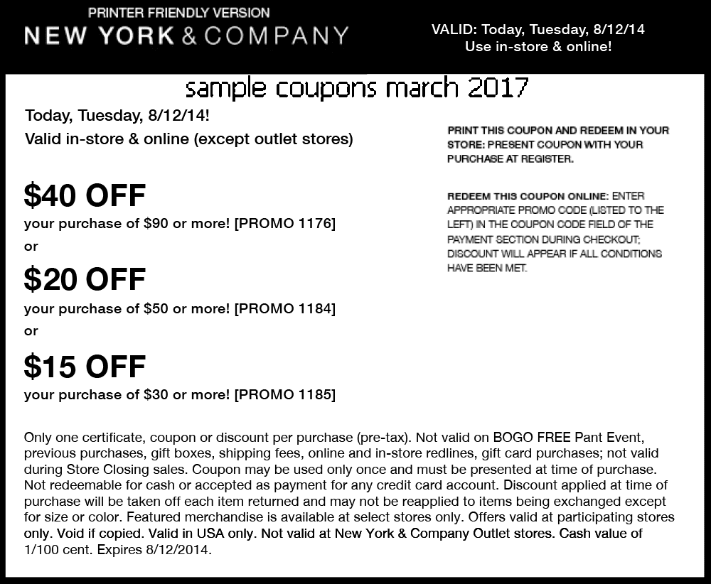 New york and company coupon codes